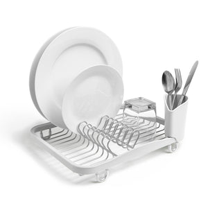 Featured umbra sinkin dish drying rack dish drainer kitchen sink caddy with removable cutlery holder fits in sink or on countertop white