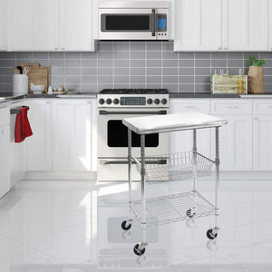 New seville classics stainless steel nsf certified professional kitchen work table cart 24 w x 20 d x 36 h