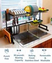 Load image into Gallery viewer, Order now over the sink dish drying rack 2 tier large 18 8 stainless steel drainer display shelf kitchen supplies storage accessories countertop space saver stand tableware organizer with utensil holder