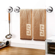 Load image into Gallery viewer, Kitchen jomola 17 inch vacuum suction cup shower towel bar for bathroom drill free kitchen hand towel rack holder storage hanger stainless steel brushed finish