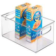 Load image into Gallery viewer, Budget idesign plastic storage bin with handles for kitchen fridge freezer pantry and cabinet organization bpa free set clear