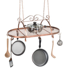 Load image into Gallery viewer, Discover the bronze tone scrollwork metal ceiling mounted hanging rack for kitchen utensils pots pans holder