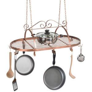 Discover the bronze tone scrollwork metal ceiling mounted hanging rack for kitchen utensils pots pans holder