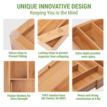 Load image into Gallery viewer, Shop here non slip extra deep expandable large silverware organizer bamboo flatware drawer organizer cutlery tray utensil holder adjustable drawer organizers kitchen drawer dividers by pristine bamboo