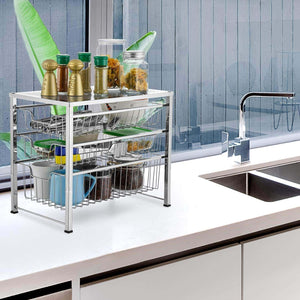 Related bextsware cabinet basket organizer with 3 tier wire grid sliding drawer multi function stackable mesh storage organizer for kitchen counter desktop bathroom under sinkchrome