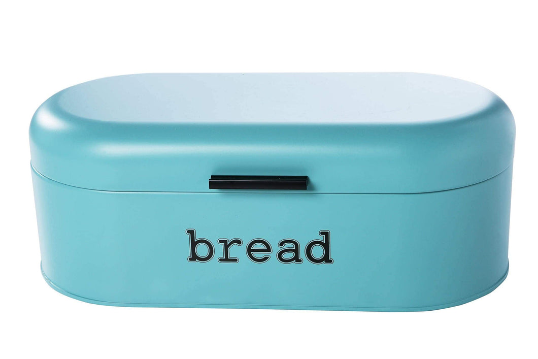 Home large bread box for kitchen counter bread bin storage container with lid metal vintage retro design for loaves sliced bread pastries teal 17 x 9 x 6 inches