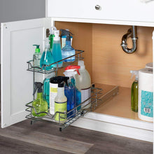 Load image into Gallery viewer, Cheap slide out cabinet organizer 11w x 18d x 14 1 2h requires at least 12 cabinet opening kitchen cabinet pull out two tier roll out sliding shelves storage organizer for extra storage