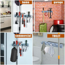 Load image into Gallery viewer, Discover the best auwey broom mop holder wall mount with hook gripper slot garden storage rack mop broom handle kitchen storage garage garden tools commercial organizer grey 5 position 6 hooks