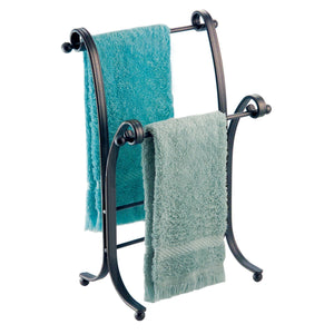 Products interdesign york metal free standing hand towel drying rack for master guest kids bathroom laundry room kitchen holds two 9 x 5 5 x 13 5 bronze