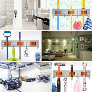 Select nice broom and mop holder with storage hooks wall mounted no drill 3m self adhesive tool organizer stainless steel base anti slip silicone handle gripper for home kitchen garden garage storage systems