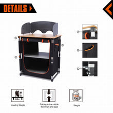 Load image into Gallery viewer, Amazon kingcamp foldable cook prep station serve cart campers kitchen aluminum frame bamboo desktop cooking table with storage organizer windscreen for camping picnic bbq and outdoor