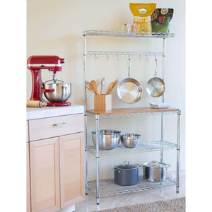Latest seville classics bakers rack for kitchens solid wood top 14 x 36 x 63 h