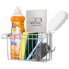 Load image into Gallery viewer, Discover the best faayfian wall mounted 3 in 1 kitchen sponge holder stainless steel bathroom shelf storage organizer soap scrubbers holder dish cloth hanger bathroom shower caddy kitchen sink caddy