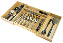 Load image into Gallery viewer, Great kitchenedge premium silverware flatware and utensil organizer for kitchen drawers expandable to 33 inches wide 11 compartments 100 bamboo