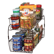 Load image into Gallery viewer, Save on smart design 2 tier stackable pull out baskets sturdy wire frame design rust resistant vinyl coat for pantries countertops bathroom kitchen 18 x 11 75 inch bronze