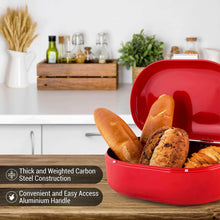 Load image into Gallery viewer, Latest bread box red carbon steel large capacity sturdy metal food storage containers and bread boxes for kitchen counters retro countertop breadbox for loaves 15 7 x 10 8 x 7 inches