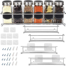 Load image into Gallery viewer, Order now spice rack organizer for cabinet door mount or wall mounted set of 4 chrome tiered hanging shelf for spice jars storage in cupboard kitchen or pantry display bottles on shelves in cabinets