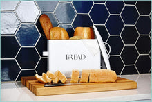 Load image into Gallery viewer, Online shopping outshine vintage metal bread bin countertop space saving extra large high capacity bread storage box for your kitchen holds 2 loaves 13 x 10 x 7 white with bread lettering