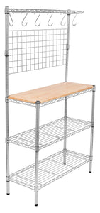 Buy internets best 3 tier bakers rack chrome kitchen storage shelving adjustable wire stand with removable cutting board and 6 hanging hooks