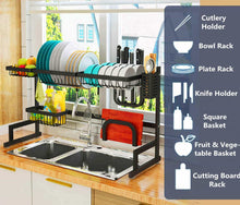 Load image into Gallery viewer, Online shopping over the sink dish drying rack 2 tier large 18 8 stainless steel drainer display shelf kitchen supplies storage accessories countertop space saver stand tableware organizer with utensil holder