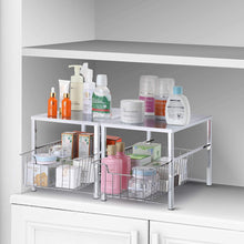 Load image into Gallery viewer, Home simple trending under sink cabinet organizer with sliding storage drawer desktop organizer for kitchen bathroom office stackbale chrome