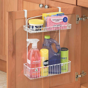 Storage organizer mdesign metal farmhouse over cabinet kitchen storage organizer holder or basket hang over cabinet doors in kitchen pantry holds dish soap window cleaner sponges 2 pack matte white