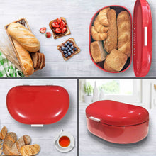 Load image into Gallery viewer, New bread box red carbon steel large capacity sturdy metal food storage containers and bread boxes for kitchen counters retro countertop breadbox for loaves 15 7 x 10 8 x 7 inches