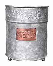 Load image into Gallery viewer, Shop here autumn alley farmhouse galvanized large kitchen utensil holder pretty embossing and copper label add farmhouse warmth and charm
