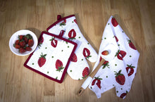 Load image into Gallery viewer, Organize with casa decors set of apron oven mitt pot holder pair of kitchen towels in a unique berry blast design made of 100 cotton eco friendly safe value pack and ideal gift set kitchen linen set