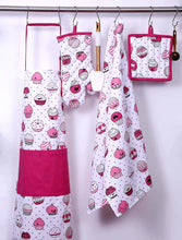 Load image into Gallery viewer, Related casa decors set of apron oven mitt pot holder pair of kitchen towels in a valentine cup cakes design made of 100 cotton eco friendly safe value pack and ideal gift set kitchen linen set