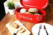 Load image into Gallery viewer, Heavy duty large bread box for kitchen counter bread bin storage container with lid metal vintage retro design for loaves sliced bread pastries red 17 x 9 x 6 inches
