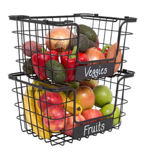 Load image into Gallery viewer, Top rated birdrock home stacking wire market baskets with chalk label set of 2 fruit vegetable produce metal storage bin for kitchen counter black
