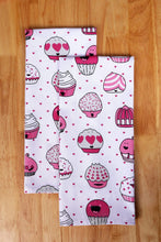 Load image into Gallery viewer, Organize with casa decors set of apron oven mitt pot holder pair of kitchen towels in a valentine cup cakes design made of 100 cotton eco friendly safe value pack and ideal gift set kitchen linen set