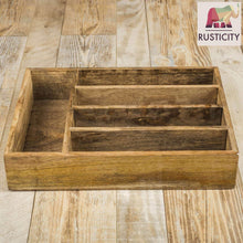 Load image into Gallery viewer, Selection rusticity wooden utensil drawer organizer with 5 compartments kitchen flatware cutlery tray organizer mango wood handmade 13 7 x 10 2 x 2 6 in