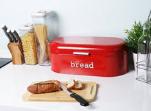 Load image into Gallery viewer, Great large bread box for kitchen counter bread bin storage container with lid metal vintage retro design for loaves sliced bread pastries red 17 x 9 x 6 inches