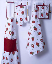 Load image into Gallery viewer, Purchase casa decors set of apron oven mitt pot holder pair of kitchen towels in a unique berry blast design made of 100 cotton eco friendly safe value pack and ideal gift set kitchen linen set