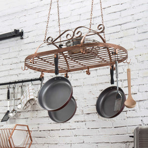 Exclusive bronze tone scrollwork metal ceiling mounted hanging rack for kitchen utensils pots pans holder