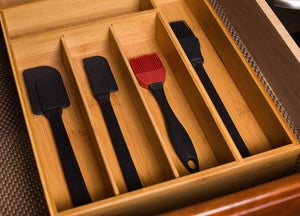 Discover the birdrock home 2 pc bamboo utility drawer organizer utensil silverware spoon knife fork 18 inch large natural wood tray adjustable kitchen organization