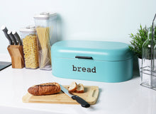 Load image into Gallery viewer, Kitchen large bread box for kitchen counter bread bin storage container with lid metal vintage retro design for loaves sliced bread pastries teal 17 x 9 x 6 inches