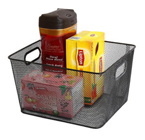 Great ybm home household wire mesh open bin shelf storage basket organizer black for kitchen pantry cabinet fruits vegetables pantry items toys 1041s 12 12 10 x 9 x 6