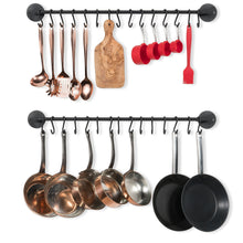 Load image into Gallery viewer, Storage organizer wallniture kitchen pot racks set of 2 wall rails 20 hooks solid iron 33 x 2 x 4 black
