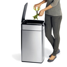 Load image into Gallery viewer, Exclusive simplehuman 40 liter 10 6 gallon stainless steel slim touch bar kitchen trash can brushed stainless steel