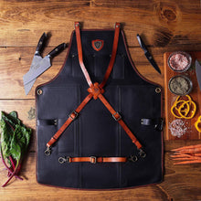 Load image into Gallery viewer, Amazon dalstrong professional chefs kitchen apron the culinary commander top grain leather 5 storage pockets towel tong loop fully adjustable harness straps heavy duty