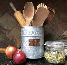 Load image into Gallery viewer, The best autumn alley farmhouse galvanized large kitchen utensil holder pretty embossing and copper label add farmhouse warmth and charm