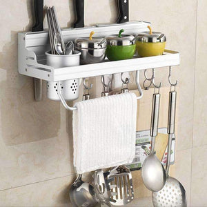 Aluminum Kitchen Shelf, Kitchen Rack, Cooking Utensil Tools Hook Rack, Kitchen Holder & Storage