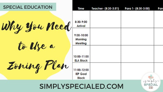 Self-contained classroom schedules can be all over the place, so that is why you need to use a zoning plan
