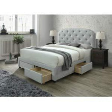 Load image into Gallery viewer, Shop here dg casa 12350 k plt argo tufted upholstered panel bed frame with storage drawers and nailhead trim headboard king size in platinum linen style fabric