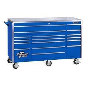 Shop extreme tools ex7217rcbl 17 drawer triple bank roller cabinet with ball bearing slides 72 inch blue high gloss powder coat finish