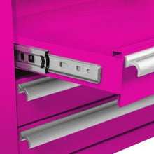 Load image into Gallery viewer, Featured the original pink box pb1804r 16 inch 4 drawer 18g steel rolling tool salon cart with bulk storage pink