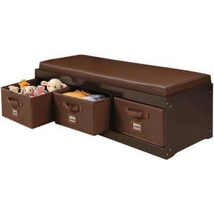 Latest genius this beautiful kids leather style padded bench with 3 large storage drawers in espresso color adds elegance while helping your child to stay tidy